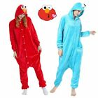 Adult Sesame Street Elmo Cookie Monster Costume Pyjamas Jumpsuit Halloween Cos