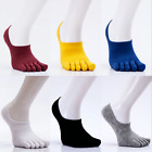 6 Pack Men Combed Cotton Invisible Toe Socks Five Finger Solid No Show Low Cut