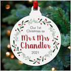 PERSONALISED Our First 1st Christmas as Mr & Mrs Decoration Bauble Husband Wife