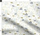 Forest Watercolor Bear Nursery Boy Mountain Fabric Printed by Spoonflower BTY