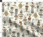 Robots Kids Girls Found Objects Steampunk Nut And Spoonflower Fabric by the Yard