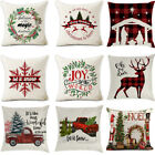 4pcs Xmas Merry Christmas Cushion Cover Pillow Case Flax Cotton Sofa Home Decor