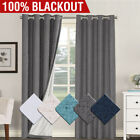 2x 100% Blackout Curtains Pair Rich Linen Textured Curtain Draperies For Bedroom