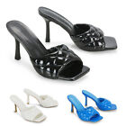 Womens Quilted Square Toe Patent High Heel Sandals Ladies Slip On Shoes Size