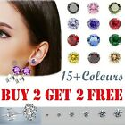 Womens Solid 925 Sterling Silver Cubic Zirconia Stud Earrings Coloured Earring