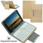 "US Gold For 7"" 8"" 10"" 10.1"" Tablets Universal Leather Case Keyboard Stand Cover"