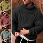 Knit Tops Long Sleeve Pullover Jumper Winter Warm Mens Chunky High Neck Sweater