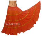 Waves Skirt Troupe Dance Chiffon Orange Color 16 Yard 4 Tiered Belly Dance C5
