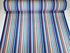 "Sunbrella Closeout Multi Color Stripe Outdoor Awning UV Canvas Fabric 46""W DWR"