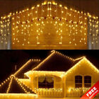 New Year 96 LED Curtain Icicle String Lights Outdoor Christmas Decor Garland