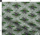 Green Purple Monster Steampunk Horror Vampire Spoonflower Fabric by the Yard