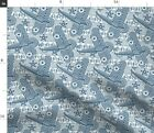 Japanese Victorian Art Deco Indigo Steam Punk Spoonflower Fabric by the Yard