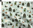 Clouds Wheels Flying Steampunk Aircrafts Machines Spoonflower Fabric by the Yard