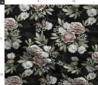 Florals Floral Steampunk Dark Midnight Spoonflower Fabric by the Yard