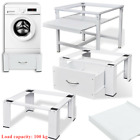 White Steel Washing Machine Pedestal Stand Tumble Dryer & Pull-Out Shelf/ Drawer