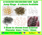 10/20/50/100/200 Split Jump Ring Rings 4mm 7mm 10mm Gold / Silver Round Open