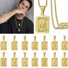 26 Letters Pendant Necklace Capital Gold Plated A-z Stainless Steel Men Women