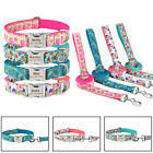 Floral Dog Collar Leash Set Personalized Free Engraevd Name ID Number XS S M L