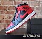Nike Air Jordan 1 Mid Banned Black Red 554724-074 GS Men Size