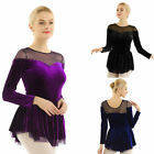 Women Velvet Mesh Skirt Ice Figure Skating Ballet Dance Gymnastics Leotard Dress