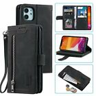 Fashion Stitching Leather Phone Case Cover Back With 9 Card Slot Wrist Strap