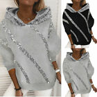 Womens Print Sweatershirt Winter Casual Long Sleeve Sequin Design Hooded Tops
