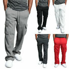 Men's Jogger Heavy Weight Fleece Cargo Pocket Sweat Pants Casual Loose Trousers
