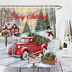 Wencal Merry Christmas Red Vintage Truck Shower Curtain Tree Winter Snow Snowman
