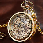 Vintage Steampunk Skeleton Transparent Mechanical Pocket Watch Hand-winding Mens