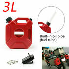 3L Car Jerry Cans Gas Diesel Fuel Tank Fit For Motorcycle with Lock+Mounting US
