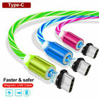 2Pack Magnetic Luminous LED Cable Type C Micro Fast Charger Charging For Phone