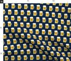 Kawaii Beer Small Scale Blue Sports Man Drink Spoonflower Fabric by the Yard