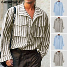 Men's Long Sleeve Formal Striped Shirt Casual Loose Fit Party Button Shirts Tops