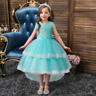 Princess Kids Formal Lace Tutu Dress Flower Girls High Low Bridesmaid Prom Gown