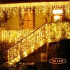 US 13-130FT LED Fairy Icicle Curtain Lights Party Indoor Outdoor Xmas Decoration