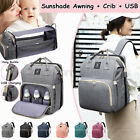 USB Changing Mummy Bag Maternity Nappy Diaper Crib Folding Baby Bed Backpack