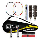 Badminton Set with 12 Birdies, Bag, Grip, 2 Graphite Rackets, Frame Protection