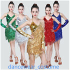 Ladies Club Party Ballroom Latin Tango Salsa Competion Dance Dress Fringes Skirt