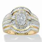 1/8 TCW 18k Gold Over Silver Diamond Two-Tone Oval-Shaped Engagement Ring