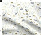 Forest Boy Bear Nursery Watercolor Mountain Spoonflower Fabric by the Yard