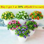 Artificial Potted Flowers Fake False Plants Outdoor Garden Home In Pot Decor -uk