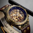 Leather Mechanical Watch Men Automatic Steampunk Watch Men Skeleton Watches US