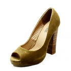 Suedette peep toe high block heel court shoes - CLEARANCE