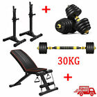 'Adjustable Weight Bench 20kg/30kg Dumbbell Set Barbell Weight Plates Home Gym