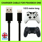 PS4 Charger Cable For PlayStation 4 Micro-USB Charging Lead 1M 2M 3M...