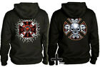 2 Choppers Hoodies biker cross gothic skull lot bones