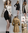 Womens Double-breasted Trench Coat Dust Wind Coat Jacket Windbreaker GF033