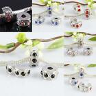 Crystal Rhinestone Stoppers Clips Clasp End Beads Findings Fit European Bracelet