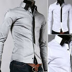 Mens Casual Slim fit  Dress Shirt  4 size  2 Colors E186