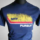 Max Mad MFP Pursuit Retro Movie T Shirt V8 Car Interceptor Navy Blue